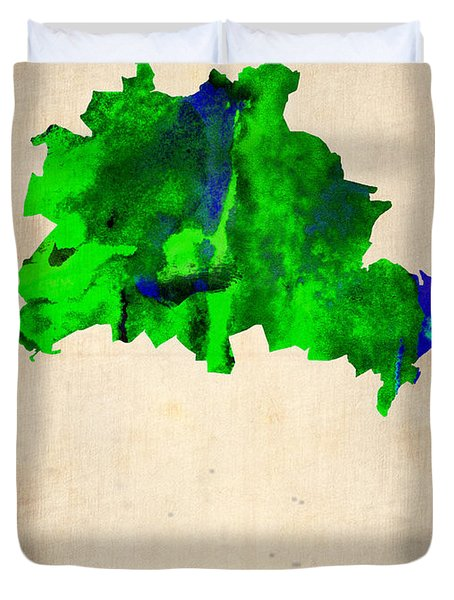 Berlin Watercolor Map Duvet Cover by Naxart Studio