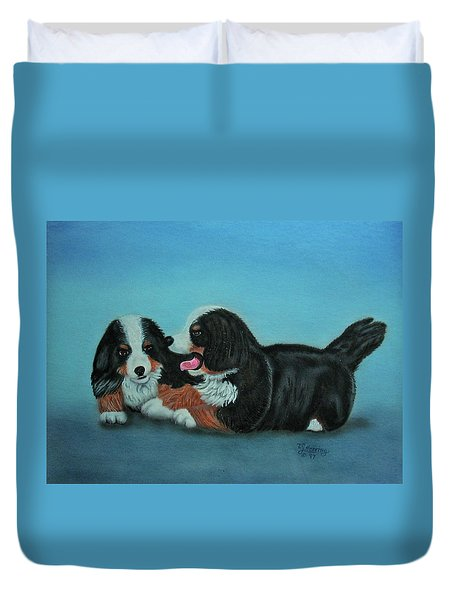 Bernese Mountain Puppies Duvet Cover