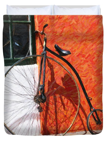 Duvet Cover featuring the photograph Bermuda Antique Bicycle by Verena Matthew
