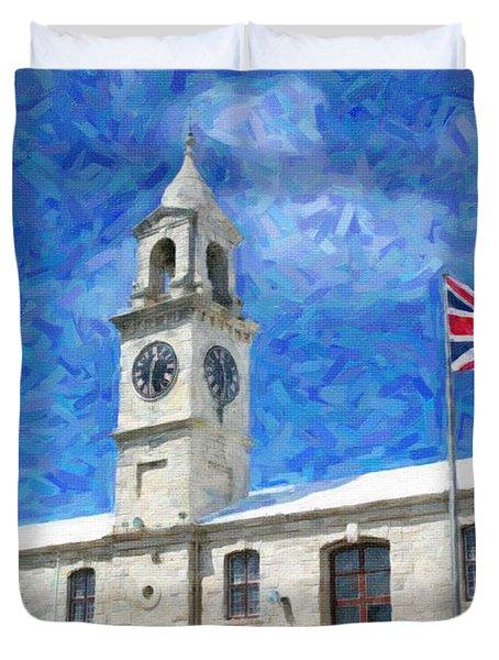 Duvet Cover featuring the photograph Bermuda Clocktower by Verena Matthew