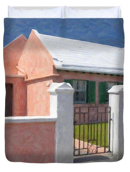 Duvet Cover featuring the photograph Bermuda Garden Gate by Verena Matthew