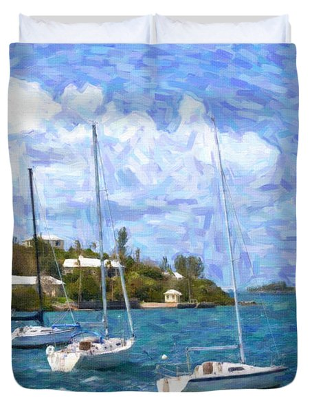 Duvet Cover featuring the photograph Bermuda Sailboats by Verena Matthew