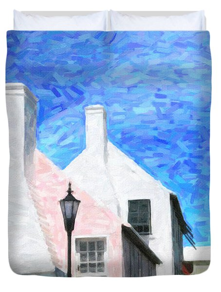 Duvet Cover featuring the photograph Bermuda Side Street by Verena Matthew