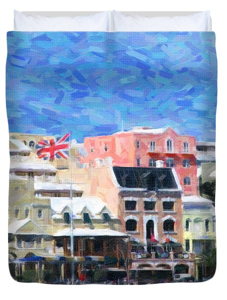 Duvet Cover featuring the photograph Bermuda Waterfront by Verena Matthew