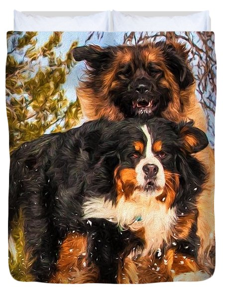 Bernese Mountain Dog And Leonberger Winter Fun Duvet Cover