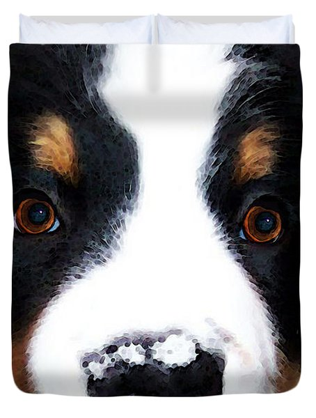 Bernese Mountain Dog - Baby It's Cold Outside Duvet Cover by Sharon Cummings