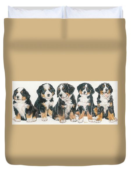 Bernese Mountain Dog Puppies Duvet Cover by Barbara Keith