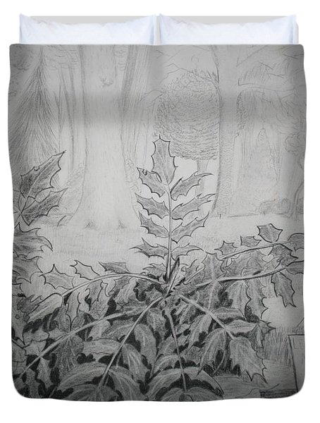 Duvet Cover featuring the drawing Bernheim Forest Plant by Stacy C Bottoms