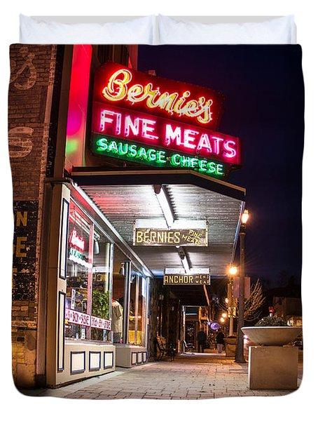 Bernies Fine Meats Signage Duvet Cover