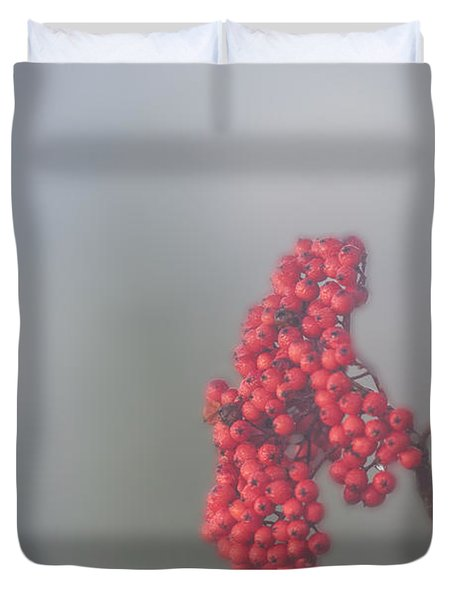 Berries In Fog Duvet Cover by Dan Friend