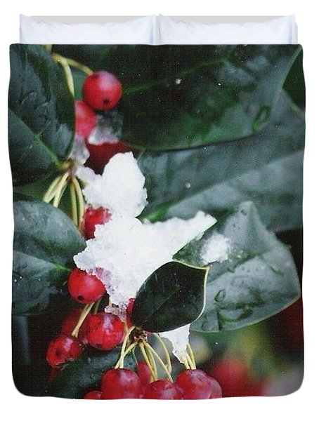 Berries In The Snow Duvet Cover