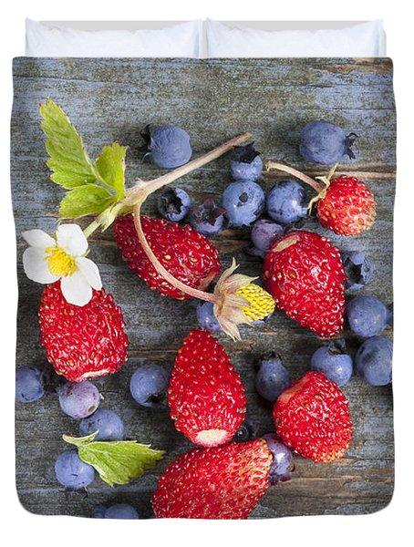 Berries On Rustic Wood  Duvet Cover