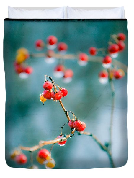 Berry Nice - Red Berries - Winter Frost Icy Red Berries - Gary Heller Duvet Cover by Gary Heller
