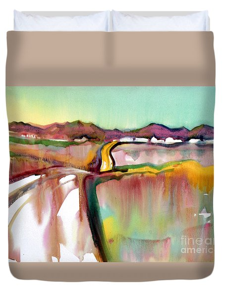 Duvet Cover featuring the painting Bethel Road by Teresa Ascone