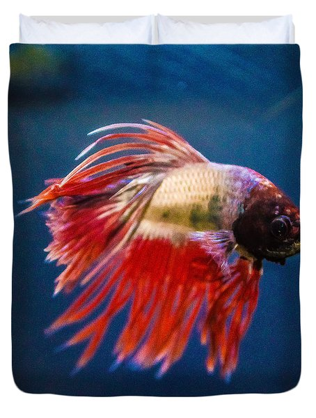 Duvet Cover featuring the photograph Betta Fish 2 by Lisa Brandel