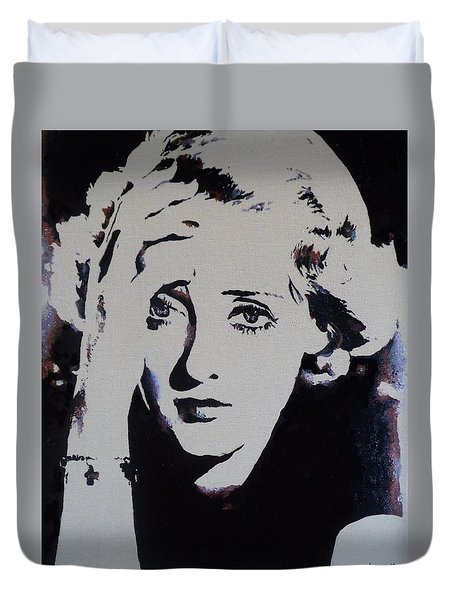 Duvet Cover featuring the painting Bette Davis by Cherise Foster