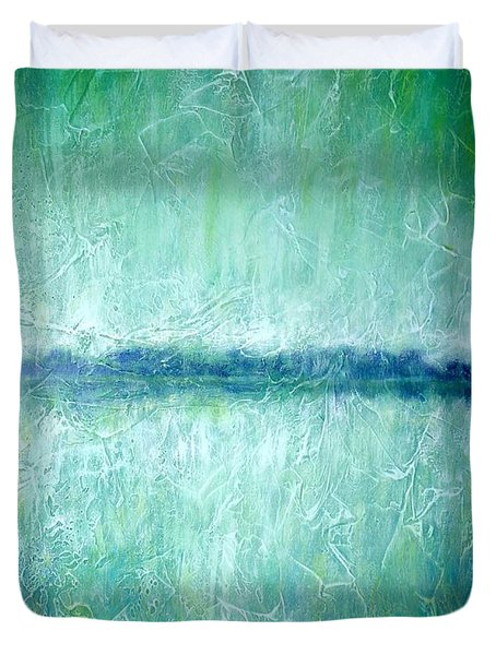 Between The Sea And Sky - Green Seascape Duvet Cover