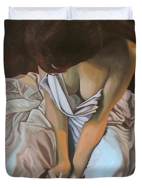 Between The Sheets Duvet Cover by Thu Nguyen