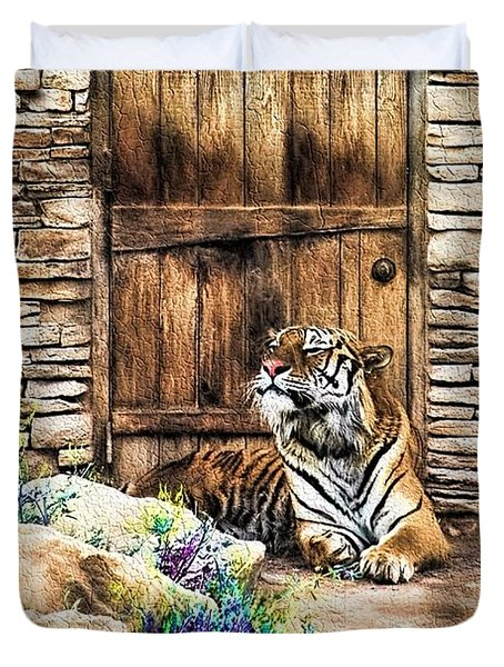 Duvet Cover featuring the painting Beware Of House Cat Beautiful Tiger by Tracie Kaska
