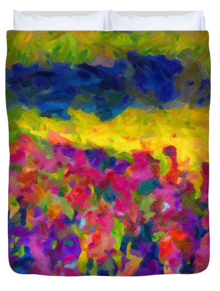 Duvet Cover featuring the painting Beyond A Simple Love by Joe Misrasi