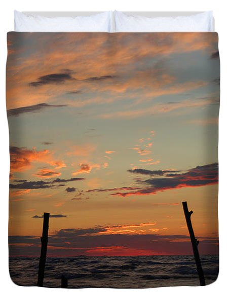 Duvet Cover featuring the photograph Beyond The Border by Barbara McMahon
