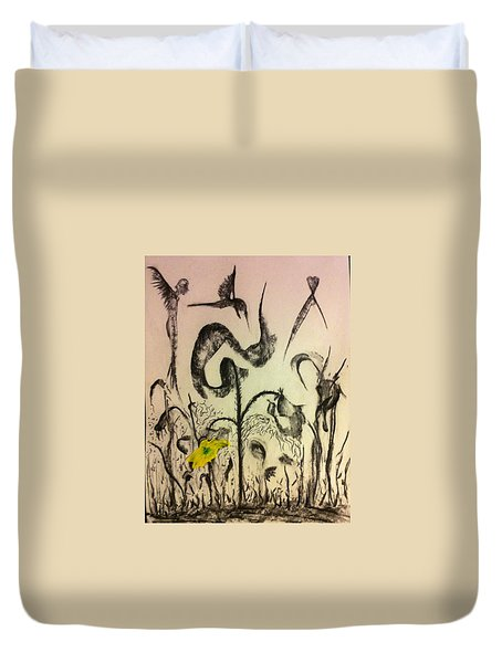 Beyond The Garden Flower Duvet Cover by Kicking Bear  Productions