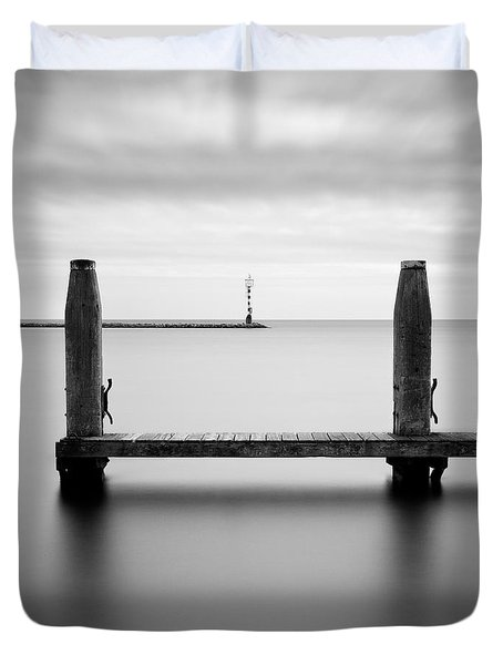 Beyond The Jetty Duvet Cover by Dave Bowman