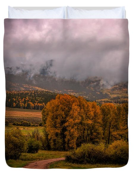 Duvet Cover featuring the photograph Beyond The Road by Ken Smith