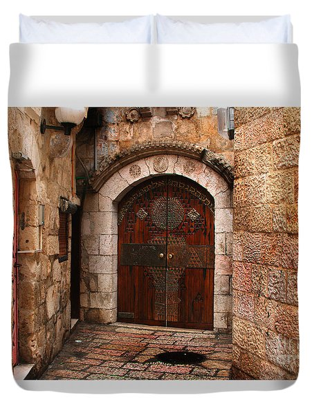 Door In Jerusalem Duvet Cover