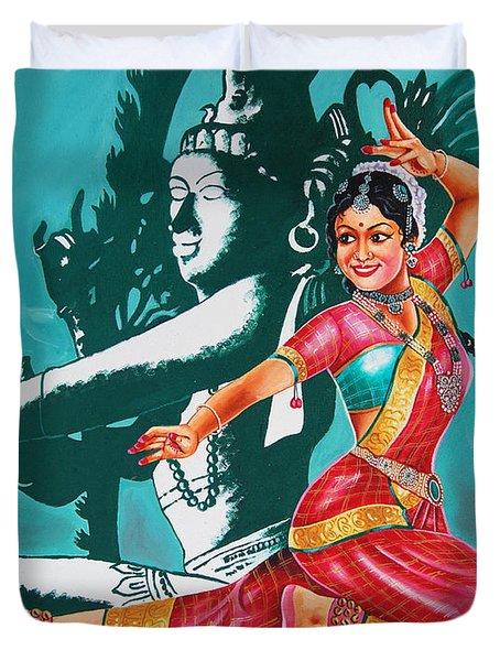 Duvet Cover featuring the painting Bharatanatyam by Ragunath Venkatraman