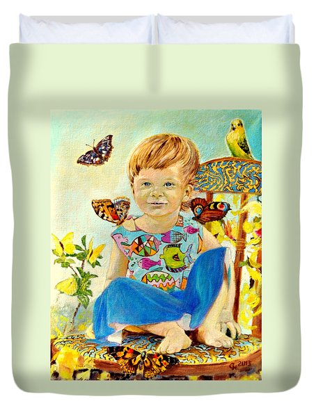 Duvet Cover featuring the painting Bianka And Butterflies by Henryk Gorecki