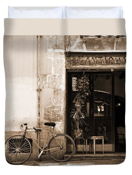 Bicycle And Reflections At L'antiquari Bar  Duvet Cover