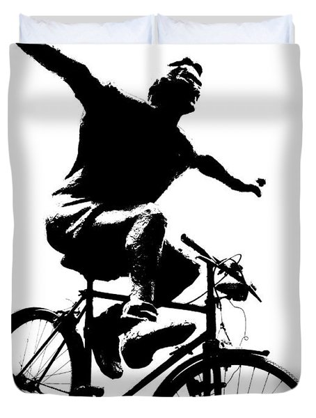 Bicycle - Black And White Pixels Duvet Cover