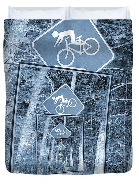 Bicycle Caution Traffic Sign Duvet Cover