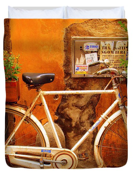 Bicycle In Rome Duvet Cover