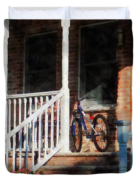 Bicycle On Porch Duvet Cover by Susan Savad