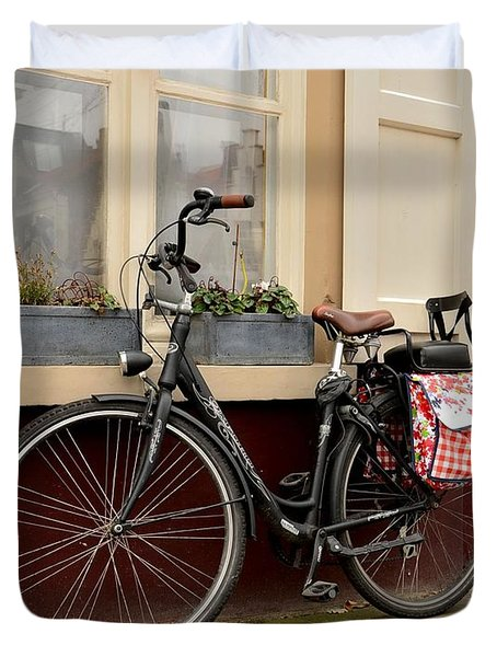Bicycle With Baby Seat At Doorway Bruges Belgium Duvet Cover
