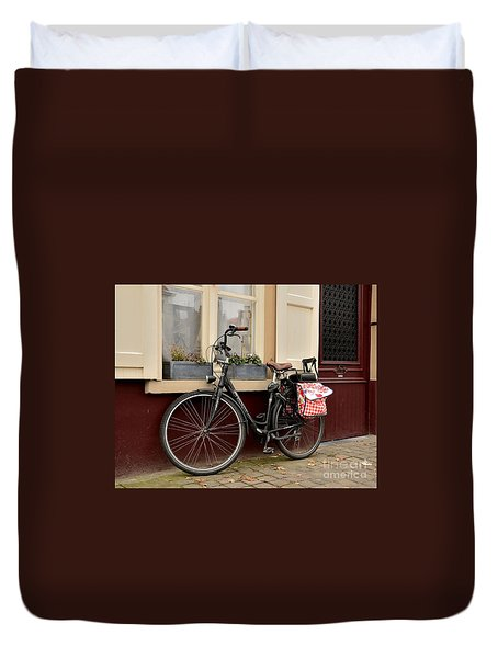 Bicycle With Baby Seat At Doorway Bruges Belgium Duvet Cover
