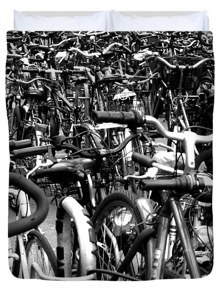 Duvet Cover featuring the photograph Sea Of Bicycles- Karlsruhe Germany by Joey Agbayani