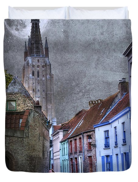 Bicycling Through Bruges Duvet Cover by Juli Scalzi