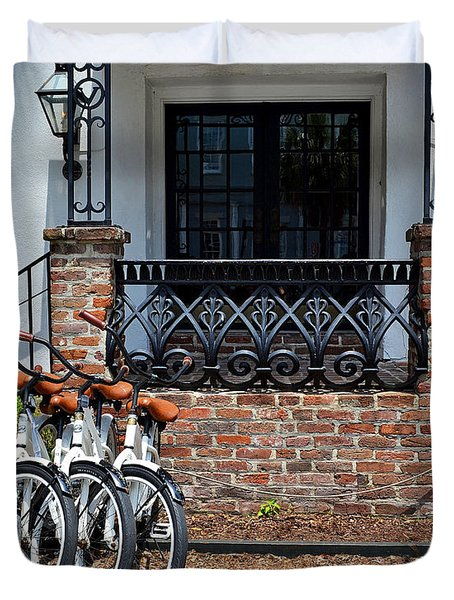 Bicycles In Charleston Duvet Cover
