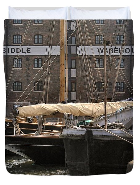Duvet Cover featuring the digital art Biddle Warehouse by Ron Harpham