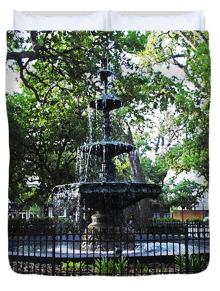 Bienville Fountain Mobile Alabama Duvet Cover by Michael Thomas