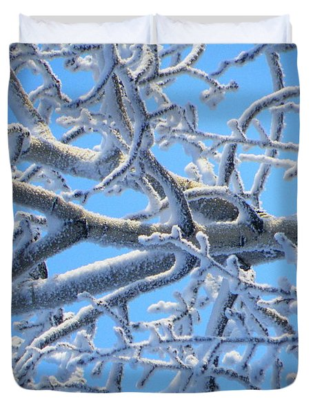 Bifurcations In White And Blue Duvet Cover by Brian Boyle