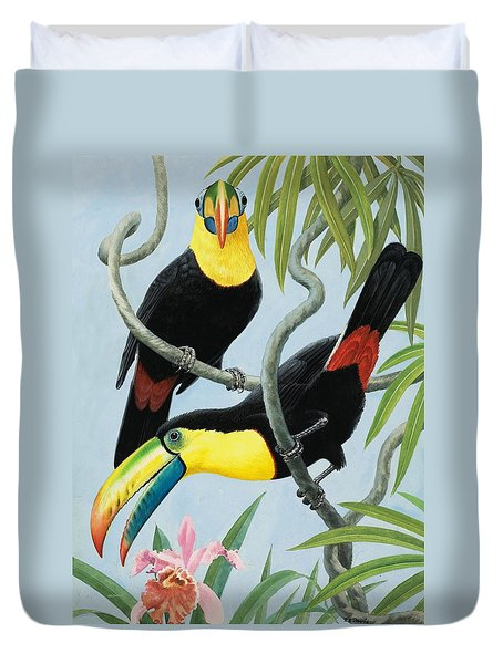 Big-beaked Birds Duvet Cover by RB Davis