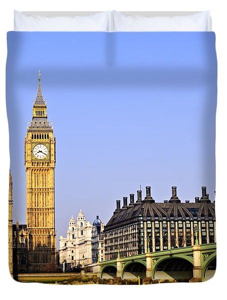 Big Ben And Westminster Bridge Duvet Cover by Elena Elisseeva