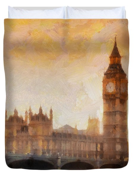 Big Ben At Dusk Duvet Cover by Pixel Chimp