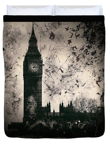 Big Ben Black And White Duvet Cover