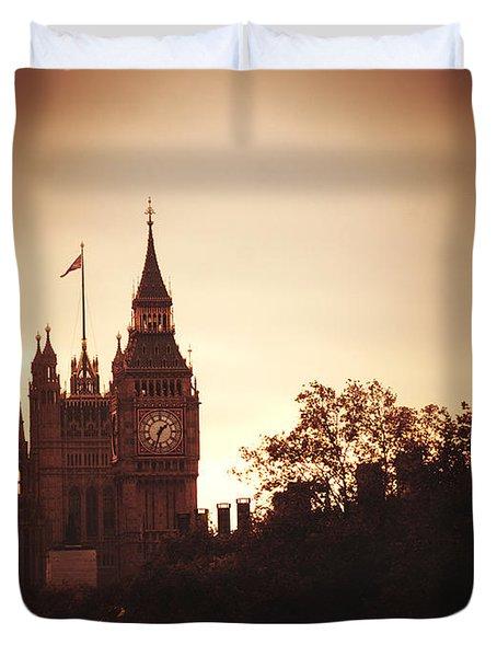 Big Ben In Sepia Duvet Cover