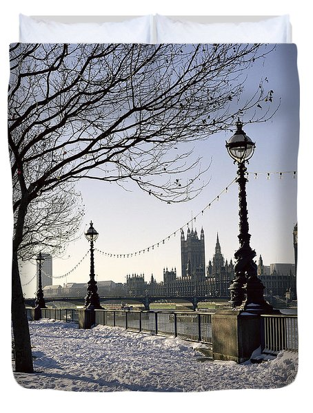Big Ben Westminster Abbey And Houses Of Parliament In The Snow Duvet Cover by Robert Hallmann